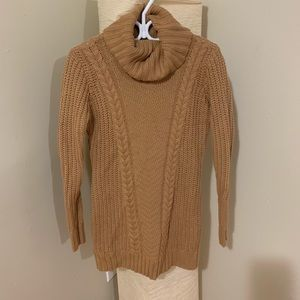 Sweaters - Turtleneck, Knitted Sweater - Tan